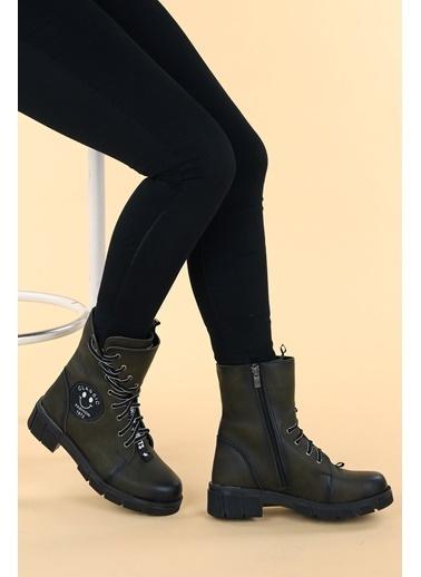 Ayakland Ayakland Ymr 913 Cilt Termo Taban Kadın Fermuarlı Bot Ayakkabı Haki